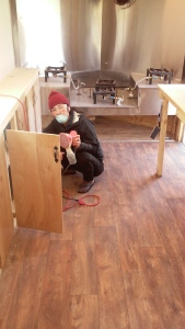 Momo re-sanding every inch of the interior to be re coated with a water-based poly-euretahne.