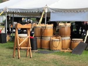 Handmade Taiko drums made by the Japanese Taiko team.